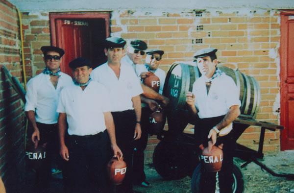 362.-Socios-de-la-Pena-La-Viga.-Ebelio,-Isidro,-Eustaquio,-Manuel-M-y-Jesus.-Hacia-1985.-Pr.-Manuela-Pe