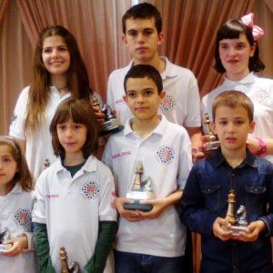 Mario del Río Perezagua y Laura Alonso Vara, repiten como campeones regionales de ajedrez. Dante Arroyo Álvarez, subcampeón y Raquel Magán Balseiro bronce. El Club A. Bargas-Fundación Soliss totaliza 7 podiums.