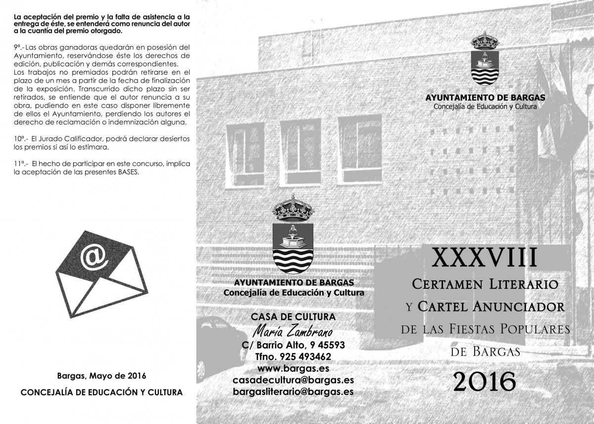 Bases Certamen Literario y Cartel anunciador de las Fiestas 2016