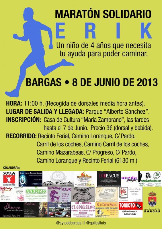 Bargas organiza un Maratón Solidario para Erik