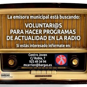 La emisora Municipal está buscando: Voluntari@s para hacer programas de actualidad en la radio.