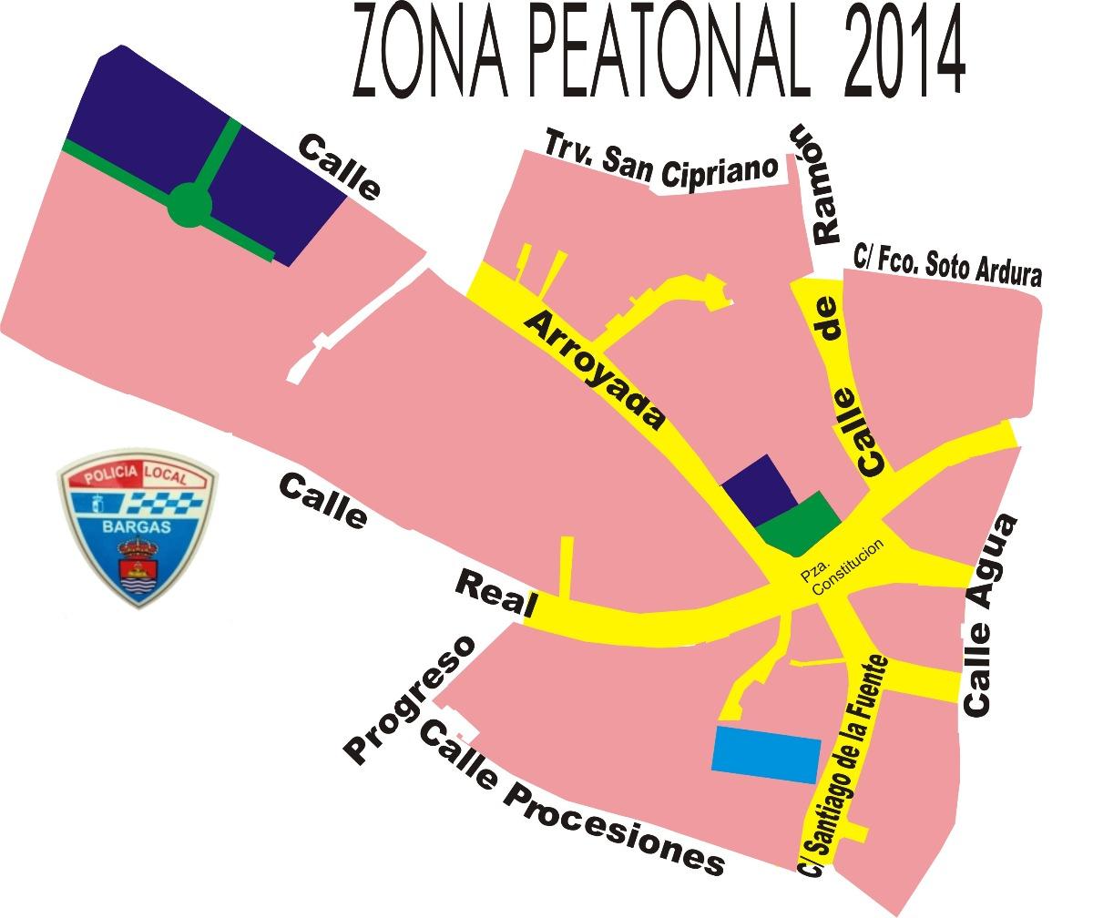 Itinerario a seguir con motivo del corte por la zona peatonal en el centro de la localidad desde el 15 de mayo al 30 de septiembre los fines de semana y festivos.
