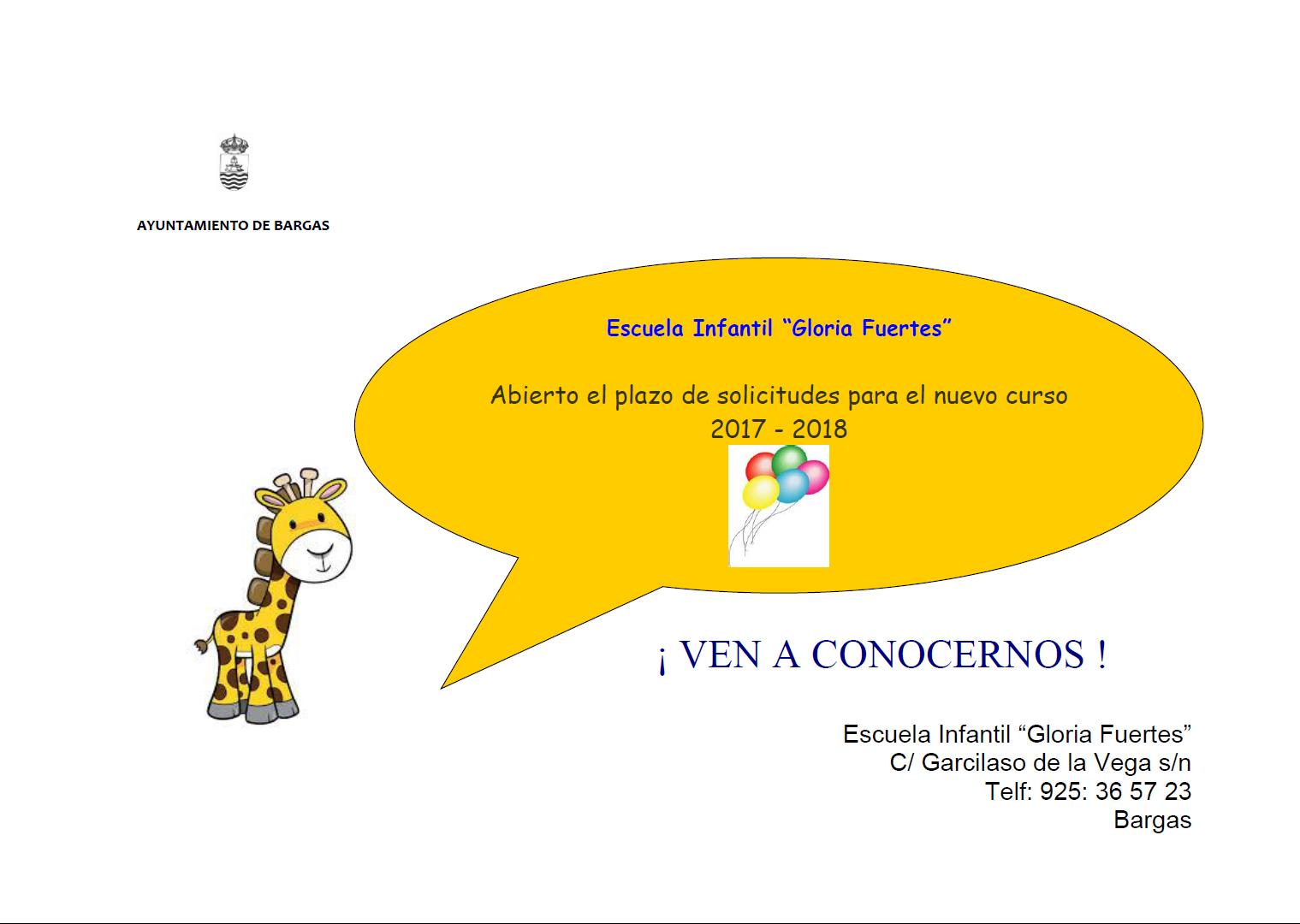 Abierto el plazo de solicitudes para la Escuela Infantil «Gloria Fuertes»