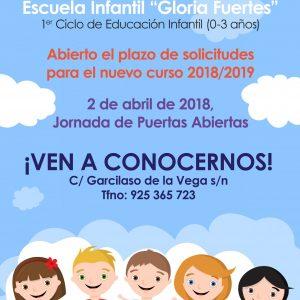 """Abierto el plazo de solicitudes para la Escuela Infantil """"Gloria Fuertes"""""""