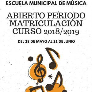 Abierto el período de matriculación de la Escuela Municipal de Música 2018/2019