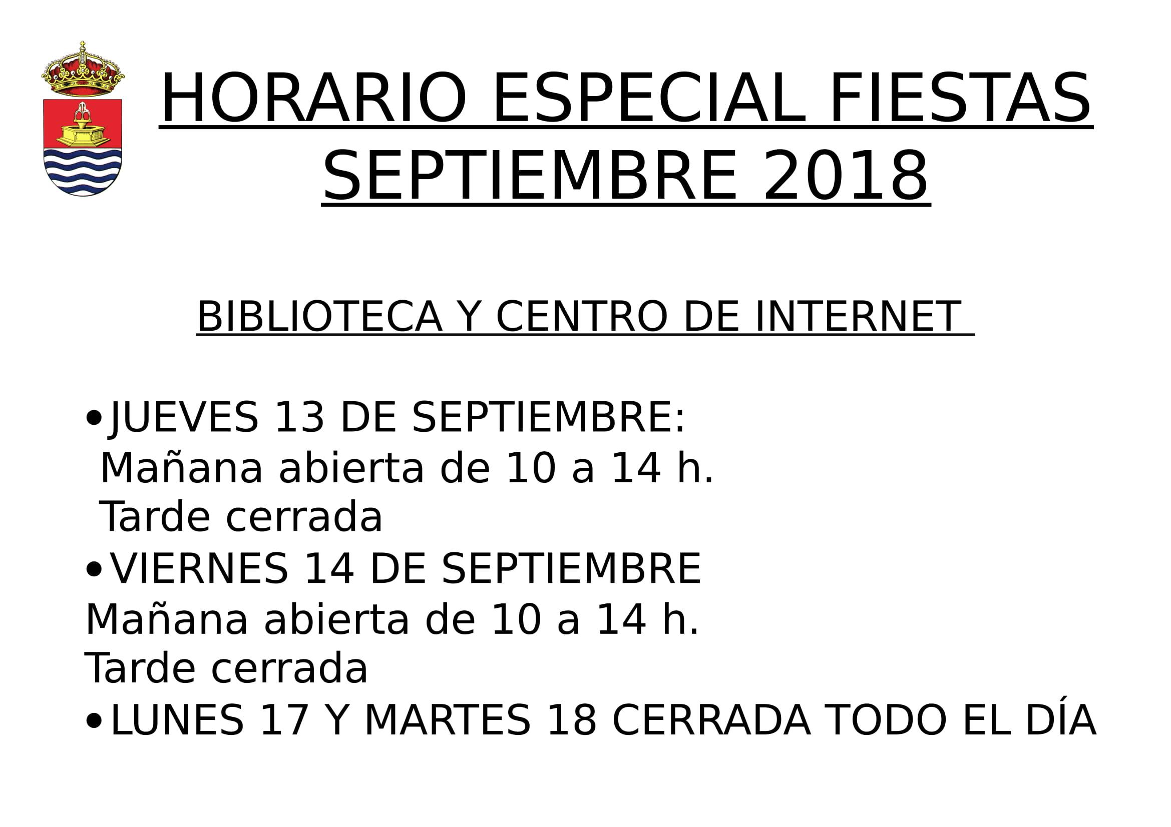 Horario especial Fiestas Septiembre – Biblioteca y Centro de internet