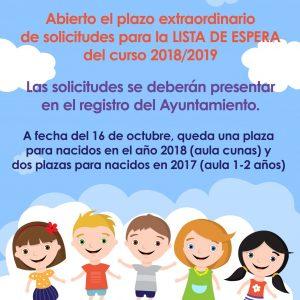 Abierto el plazo extraordinario de solicitudes para la LISTA DE ESPERA del curso 2018/2019