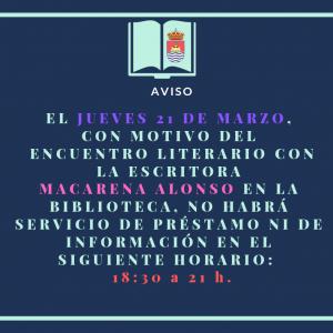 AVISO: horario de la Biblioteca el jueves 21 de marzo