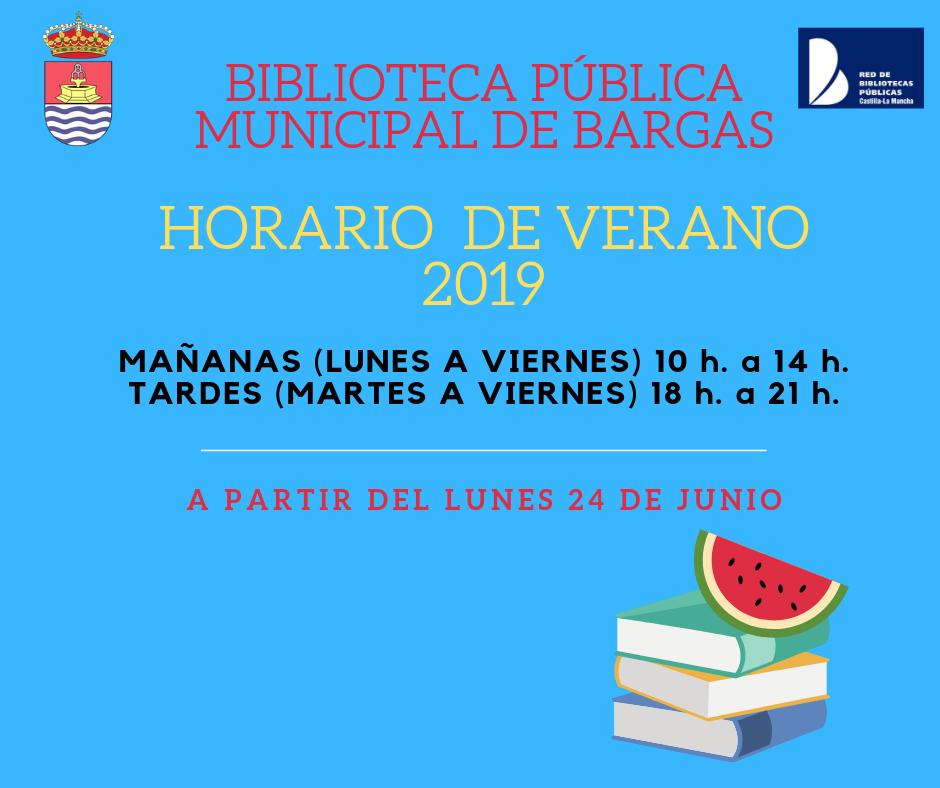 AVISO: Horario de Verano 2019 de la Biblioteca Pública Municipal
