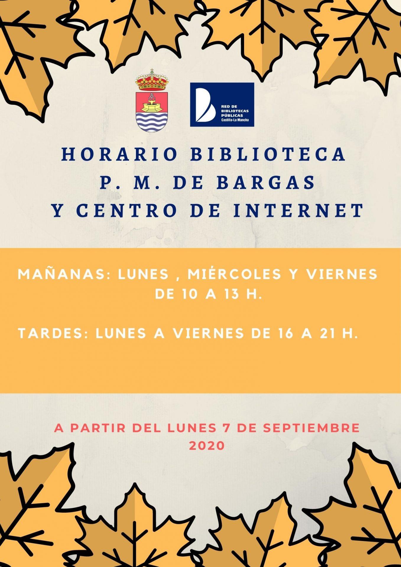Horarios Biblioteca, P.M. de Bargas y Centro de Internet