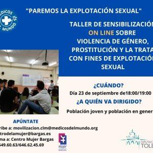 «Paremos la explotación sexual» Taller online sobre violencia de género, prostitución y la trata con fines de explotación sexual