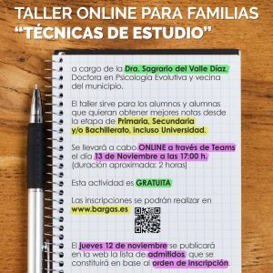 Taller online para familias: «Técnicas de Estudio»