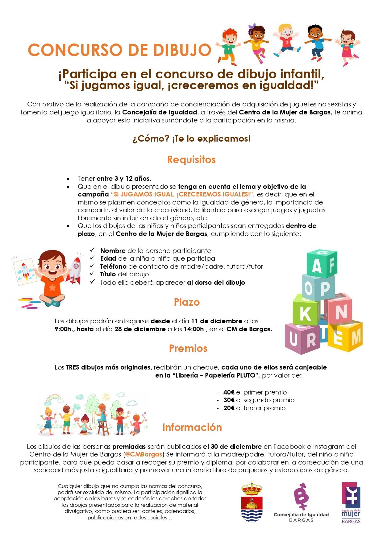 """Concurso de Dibujo Infantil: """"Si jugamos igual, ¡creceremos en igualdad!"""""""