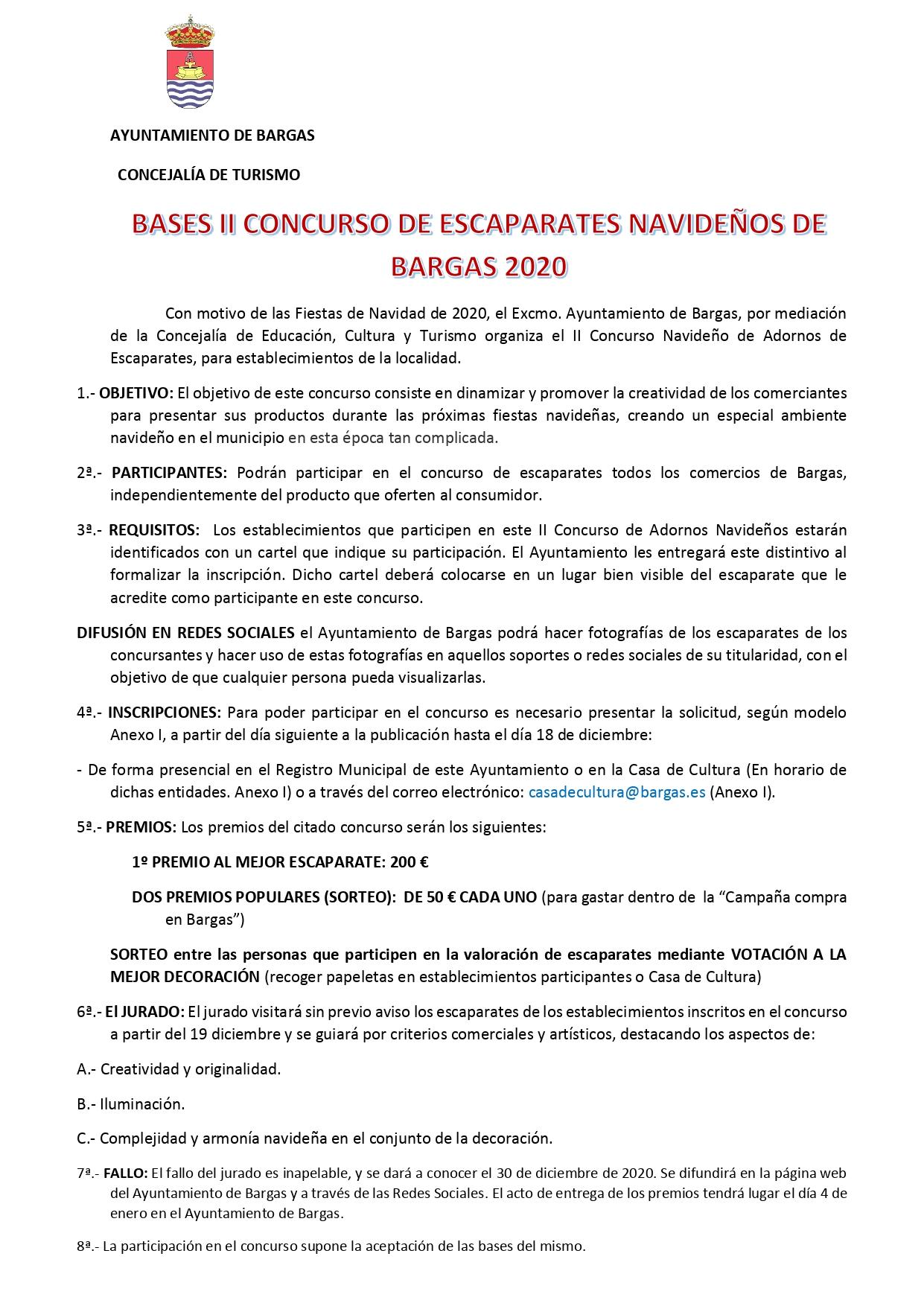 Bases del 2º Concurso de Escaparates Navideños 2020