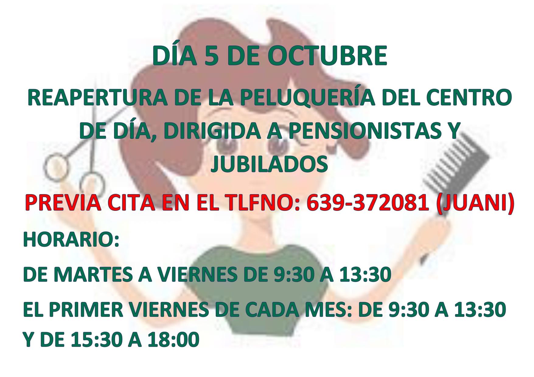 Reapertura de la peluquería del Centro de Día para pensionistas y jubilados